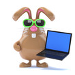 Chocolate bunny loves his new laptop