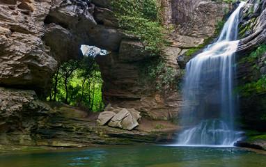 Beautiful waterfall in the Catalan pre-Pyrenees.La Foradada