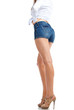 sexy woman legs in jean shorts, isolated on white background