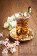 Turkish Tea on wooden background