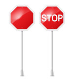 stop road sign with support