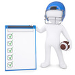 3d man in helmet holding ball and checklist