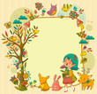 frame with a girl, animals and plants