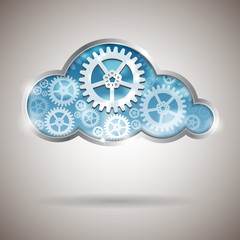 Cloud computing abstract illustration with gear wheels