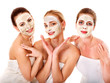 Group women with  facial mask.