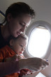 Mother with toddler on a flight