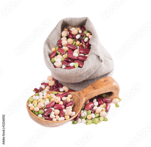 A mixture of beans on white background