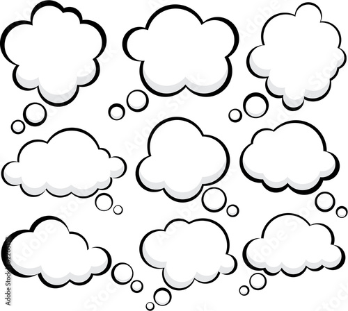 Comic cloud speech bubbles.