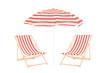 Two beach sun loungers and an umbrella