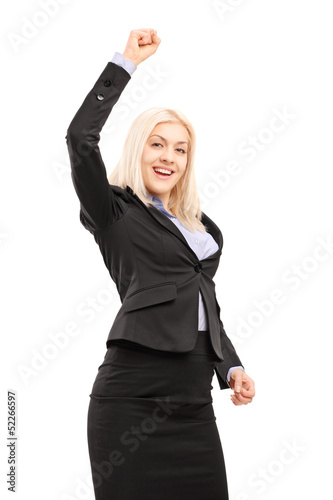 Young smiling businesswoman gesturing happiness