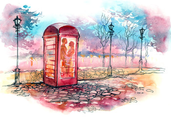 loving couple in the call box