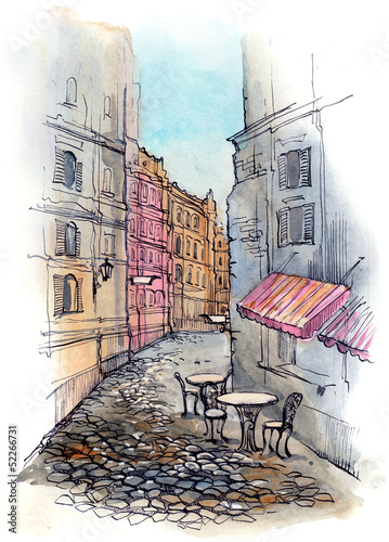 Papiers peints Drawn Street cafe cafe on the street