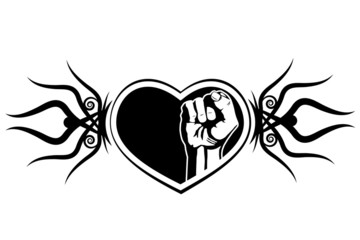 Heart and fist. The tattoo design element