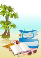 seaside summer holiday background with Palm ,bag,sunglasses