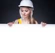 Young architect woman, empty poster