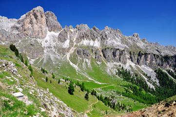 Dolomite peaks, Rosengarten,Val di Fassa, Italy Alps