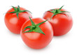Three ripe red tomatoes isolated on white with clipping path