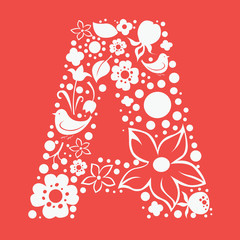 Ornamental floral one color letter A