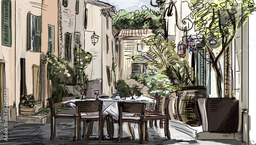 Keuken foto achterwand Drawn Street cafe European city street color illustration