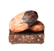 Cocoa beans on the peels of  dark chocolate