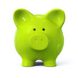 Green piggy bank - front view
