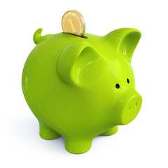 Green piggy bank with coin