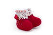 Red toy wool felt boots