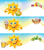 Fun sun with ice cream and cool drinks horizontal banners