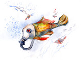 fish with gas mask