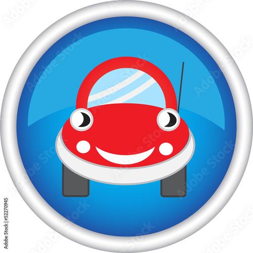 Круглый знак с изображением машины