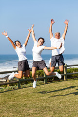 active family jumping