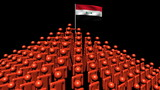 pyramid of men with rippling Syrian flag animation