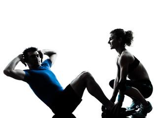 man woman exercising abdominal workout fitness