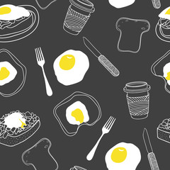 Breakfast seamless pattern