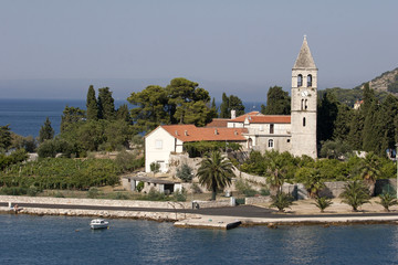 Franciscan monastery on Prirovo peninsula in Vis, Croatia