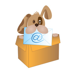 dog with e-mail sign at @