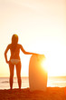 Summer surfer beach woman vacation sunset
