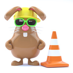 Chocolate bunny fixes the roads