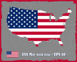 USA Map With Flag On Grey Background Vector Illustration