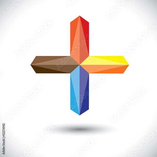 Abstract creative plus icon(positive sign)- vector graphic