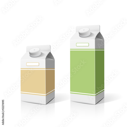 Colorful milk box packaging template, vector
