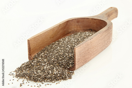 Wooden Scoop With Chia Seeds Isolated