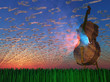 Cello emits light with clouds formed as musical notations