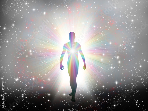 Man in rainbow light and stars
