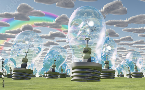 Human head bulbs under happy sky