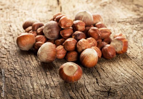 Pile of ripe hazelnuts