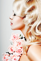 beautiful blonde curls and pink roses