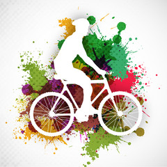 BMX cyclist performing stunt on colorful grungy background. EPS