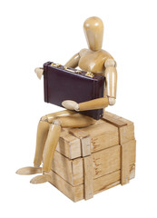 Employee on Wooden Crate with Briefcase