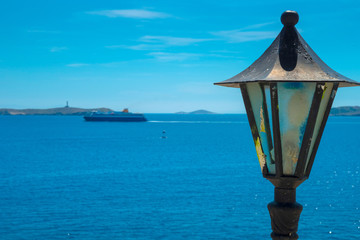 Greece Syros, wide sea view with ship and with clear blue sky ab